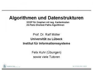 Algorithmen und Datenstrukturen SSSP fr Graphen mit neg
