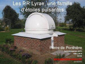 Les RR Lyrae une famille dtoiles pulsantes Pierre