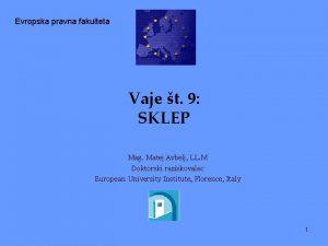 Evropska pravna fakulteta Vaje t 9 SKLEP Mag