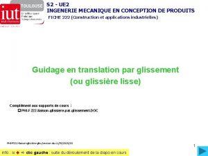 S 2 UE 2 INGENERIE MECANIQUE EN CONCEPTION