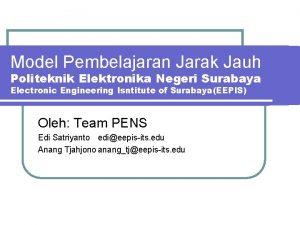 Model Pembelajaran Jarak Jauh Politeknik Elektronika Negeri Surabaya