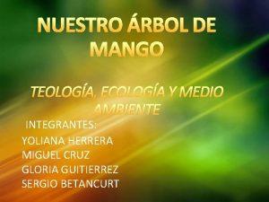NUESTRO RBOL DE MANGO TEOLOGA ECOLOGA Y MEDIO