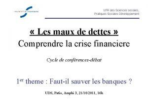 UFR des Sciences sociales Pratiques Sociales Dveloppement Les