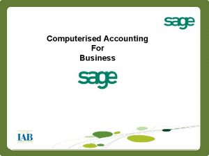 Intro Computerised Accounting For Business 1 Intro Very