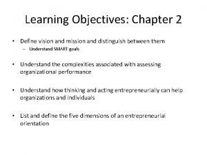 Learning Objectives Chapter 2 Define vision and mission