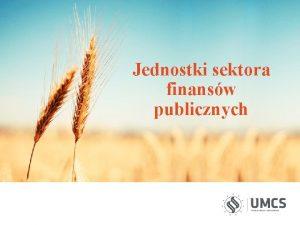 Jednostki sektora finansw publicznych Sektor finansw publicznych obejmuje