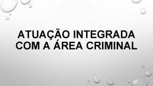 ATUAO INTEGRADA COM A REA CRIMINAL CONTEXTUALIZAO ASPECTOS