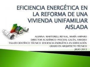 EFICIENCIA ENERGTICA EN LA REFORMA DE UNA VIVIENDA