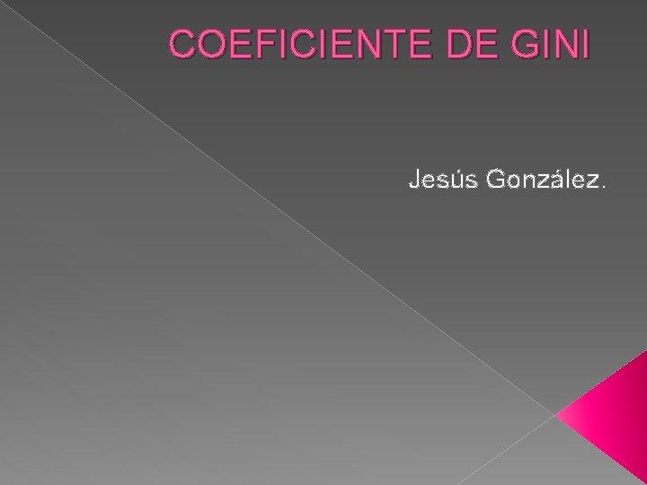 COEFICIENTE DE GINI Jess Gonzlez COEFICIENTE DE GINI