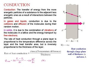 CONDUCTION Conduction The transfer of energy from the