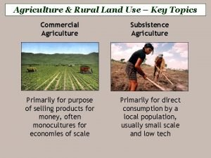 Agriculture Rural Land Use Key Topics Commercial Agriculture