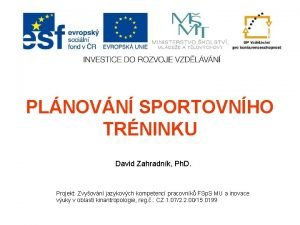 PLNOVN SPORTOVNHO TRNINKU David Zahradnk Ph D Projekt