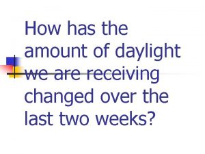 How has the amount of daylight we are