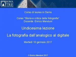 Universit Roma Tre Corso di laurea in Dams