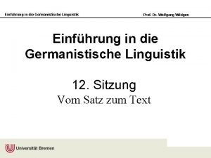 Einfhrung in die Germanistische Linguistik Prof Dr Wolfgang