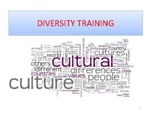 DIVERSITY TRAINING 1 Diversity or Cultural Competence is