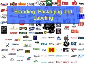 Branding Packaging and Labeling Topics Branding Importance Types