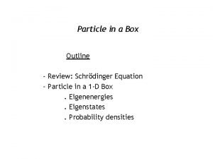 Particle in a Box Outline Review Schrdinger Equation