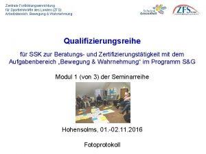 Zentrale Fortbildungseinrichtung fr Sportlehrkrfte des Landes ZFS Arbeitsbereich