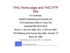 THIC Home page and THIC FTP Site P
