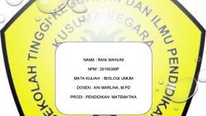 NAMA RANI WAHUNI NPM 20158300 F MATA KULIAH