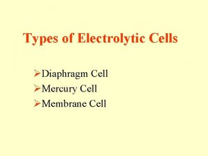 Types of Electrolytic Cells Diaphragm Cell Mercury Cell