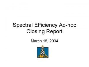 Spectral Efficiency Adhoc Closing Report March 18 2004