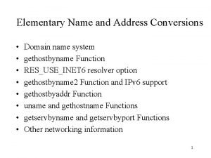 Elementary Name and Address Conversions Domain name system