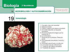Biologa 2 Bachillerato IV MICROBIOLOGA Y AUTOCONSERVACIN 19