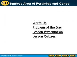 8 11 Surface Area of Pyramids and Cones