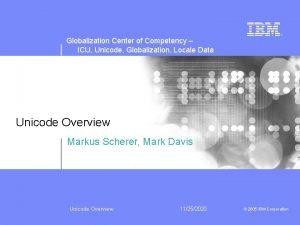 Globalization Center of Competency ICU Unicode Globalization Locale