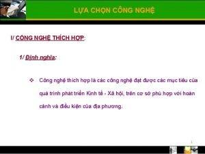 LA CHN CNG NGH I CNG NGH THCH