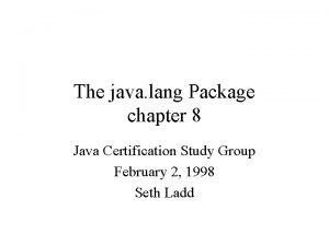 The java lang Package chapter 8 Java Certification