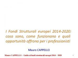 I Fondi Strutturali europei 2014 2020 cosa sono