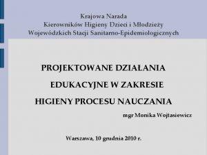 Krajowa Narada Kierownikw Higieny Dzieci i Modziey Wojewdzkich