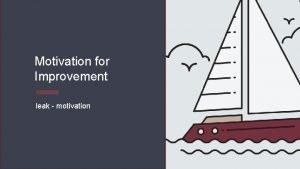 Motivation for Improvement leak motivation Motivation for Improvement