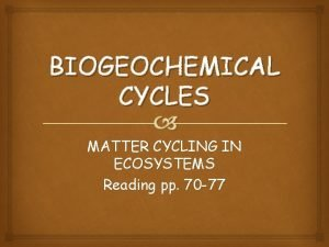 BIOGEOCHEMICAL CYCLES MATTER CYCLING IN ECOSYSTEMS Reading pp