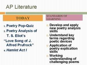 AP Literature TODAY Poetry PopQuiz 2 Poetry Analysis