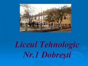 Liceul Tehnologic Nr 1 Dobreti Prezentare v MISIUNEA