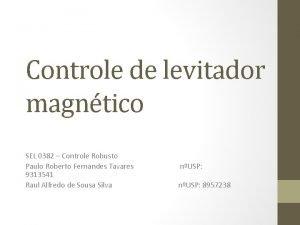 Controle de levitador magntico SEL 0382 Controle Robusto