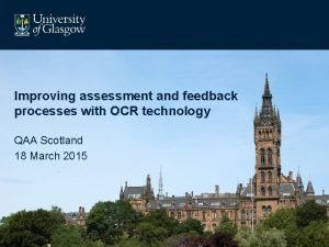 Improving assessment and feedback processes with OCR technology