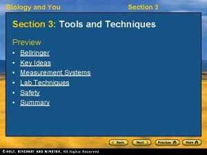 Biology and You Section 3 Tools and Techniques