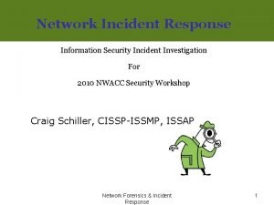 Network Incident Response Information Security Incident Investigation For