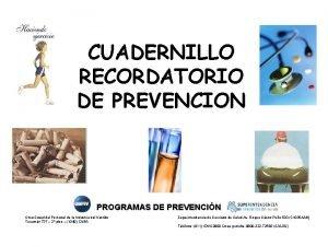CUADERNILLO RECORDATORIO DE PREVENCION PROGRAMAS DE PREVENCIN Obra