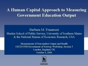 A Human Capital Approach to Measuring Government Education