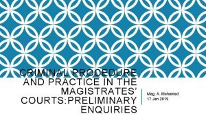 CRIMINAL PROCEDURE AND PRACTICE IN THE MAGISTRATES COURTS