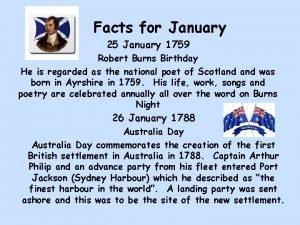 Facts for January 25 January 1759 Robert Burns