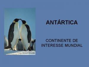 ANTRTICA CONTINENTE DE INTERESSE MUNDIAL INTERESSE MUNDIAL ESTUDAREMOS