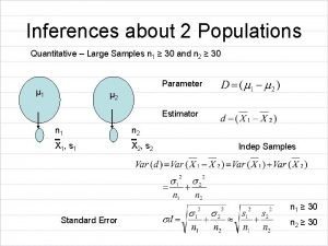 Inferences about 2 Populations Quantitative Large Samples n