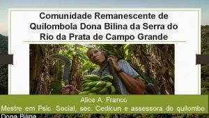 Comunidade Remanescente de Quilombola Dona Bilina da Serra